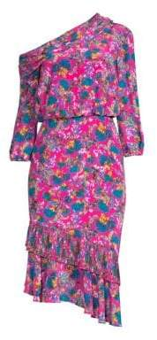 Saloni Lexie Floral Silk Midi Dress