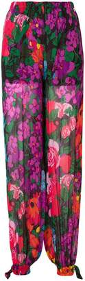Twin-Set floral straight-leg trousers