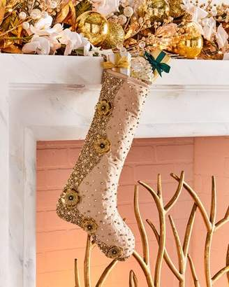 Gold Christmas Floral Stocking