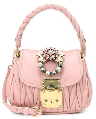 Miu Embellished Leather Shoulder Bag