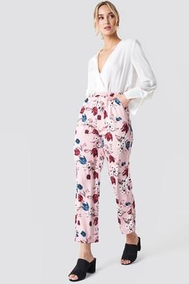 NA-KD Na Kd Elastic Waist Straight Pants Cobalt Rose Pattern
