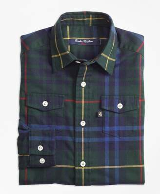 Brooks Brothers Boys Stewart Hunting Plaid Flannel Sport Shirt