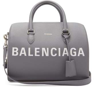 Balenciaga Ville Grained Leather Bowling Bag - Womens - Light Grey