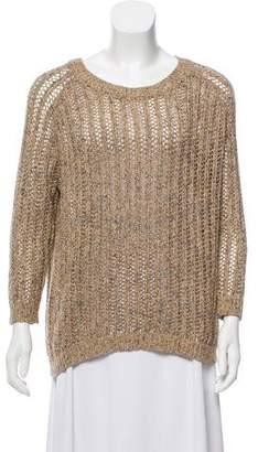 IRO Open Knit Three-Quarter Sleeve Sweater