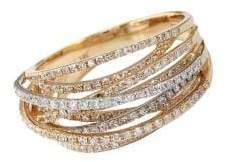 Effy Diamond 14K White And Yellow Gold Ring, 0.67 TCW