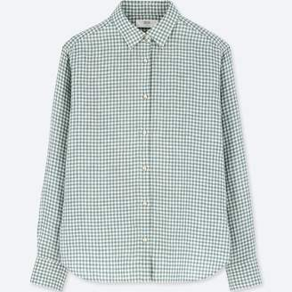 Uniqlo WOMEN Premium Linen Check Long Sleeve Shirt