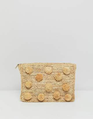 Whistles Straw Pom Pom Medium Clutch Bag
