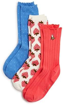 Kate Spade Strawberry Rib Socks, Set of 3