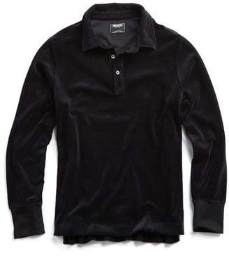Todd Snyder Velour Long Sleeve Polo in Black