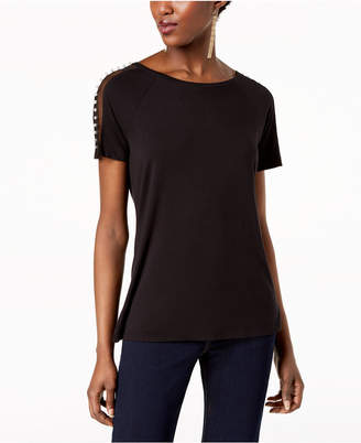 INC International Concepts I.N.C. Embellished Sheer-Contrast T-Shirt, Created for Macy's