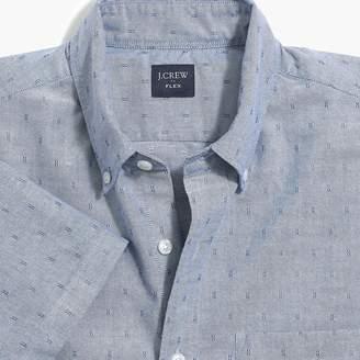 J.Crew Factory Short-sleeve flex oxford cotton shirt in dobby