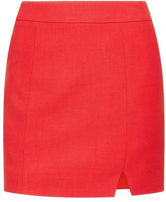 La Perla Desk To Dinner Rubine Red Short Virgin Wool Skirt With Slit