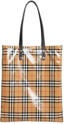 de4264aee86b Burberry Coated Vintage Check Large Shopper Tote Bag