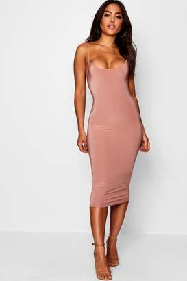 boohoo Slinky Double Layer Strappy Midi Dress