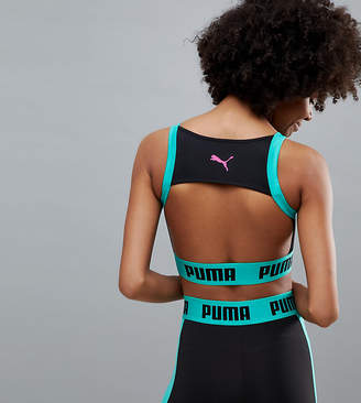Puma Exclusive To Asos Zip Up Bra Top In Black And Green