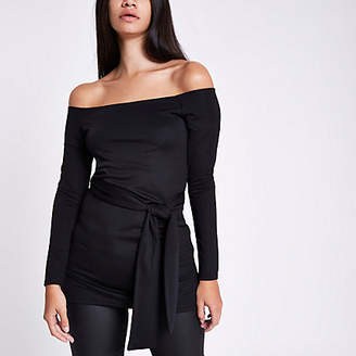 River Island Black fitted long sleeve belted bardot top