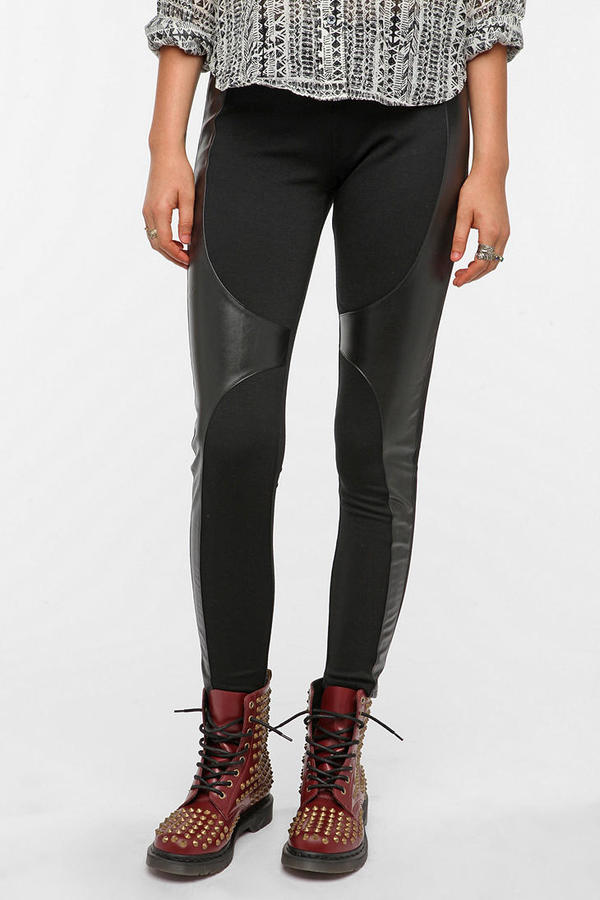 Ponte Knit and Faux Leather Legging