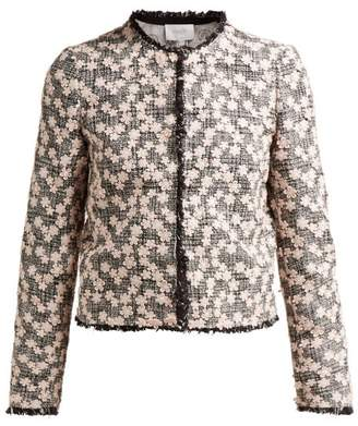 Giambattista Valli Floral Applique Tweed Jacket - Womens - Black Pink