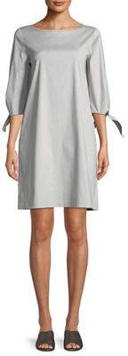 Lafayette 148 New York Elaina Tie-Sleeve Stretch-Cotton Shift Dress