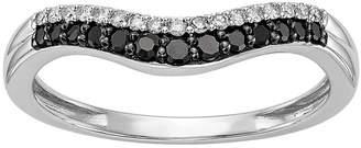 MODERN BRIDE Womens 1/5 CT. T.W. Genuine Multi Color Diamond 14K White Gold Curved Wedding Band