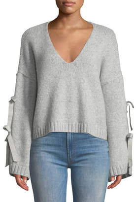 Cinq à Sept Sidel Cropped Tie-Sleeve Wool Sweater