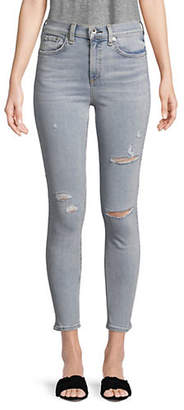 Rag & Bone High Rise Ripped Skinny Ankle Jeans