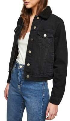 Miss Selfridge Borg-Collar Denim Jacket