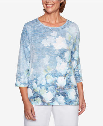 Alfred Dunner Petite Greenwich Hills Watercolor Floral-Print Sweater