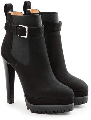 Sergio Rossi Suede Ankle Boots with Gripped Sole