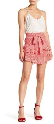 Know One Cares Stripe Ruffle Mini Skirt