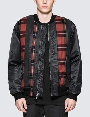 3.1 Phillip Lim Flannel Stripe Paneled MA-1 Bomber Jacket