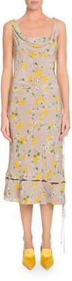 Altuzarra Norma Sleeveless Cowl-Neck Floral-Print Silk A-Line Dress
