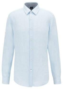 ec13e16ba BOSS Regular-fit shirt in linen chambray