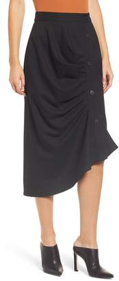 Chelsea28 Gathered Side Button Midi Skirt