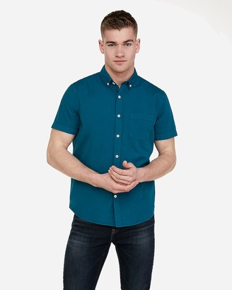 3c111e782b667 Express Slim Garment Dyed Button-Down Short Sleeve Shirt
