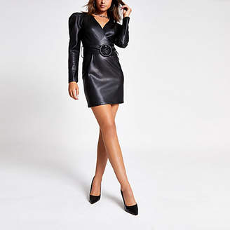 River Island Black faux leather belted wrap dress