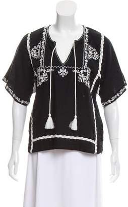 Ella Moss Embroidered Short Sleeve Top w/ Tags