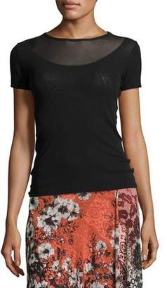 Fuzzi Short-Sleeve Illusion-Neck Top, Black $195 thestylecure.com
