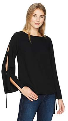 Lark & Ro Women's Long Top with Tied Sleeve Detail