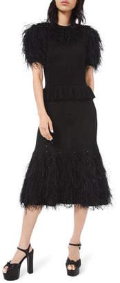 Michael Kors Feather-Trim Knit Cocktail Dress