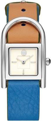 Tory Burch THAYER WATCH, BEIGE & BLUE LEATHER/STAINLESS STEEL, 25 x 39 MM