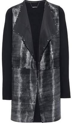Elie Tahari Lakshmi Studded Calf Hair-Paneled Merino Wool Jacket