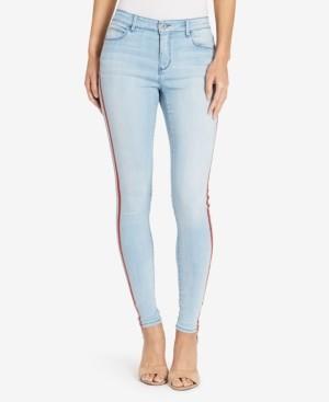 Skinnygirl Skinny Red Stripe Embellished Jean