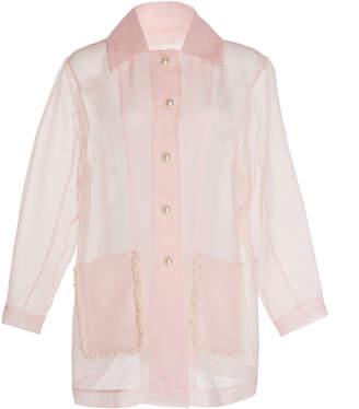 Huishan Zhang Aubree Pearl Embellished Silk Organza Jacket