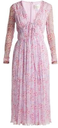 Carolina Herrera Floral Print Silk Chiffon Dress - Womens - Pink Multi