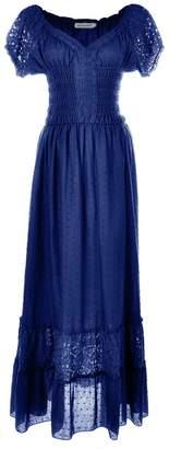 Anna-Kaci Peasant Maiden Boho Inspired Cap Sleeve Lace Trim Maxi Dress