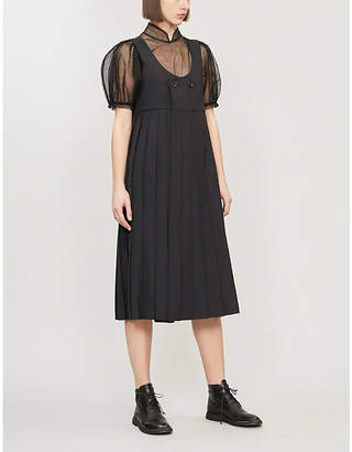 Noir Kei Ninomiya Pleated-skirt wool-blend dress