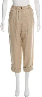 Calvin Klein Collection Linen Mid-Rise Straight-Leg Pants