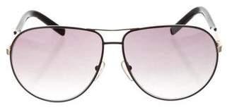 Saint Laurent Logo Aviator Sunglasses