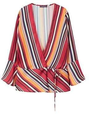 Violeta BY MANGO Striped wrap blouse